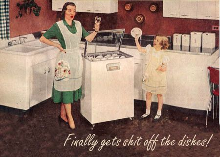1950s picture of a portable dishwasher