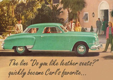 1950s picture of an aquamarine car