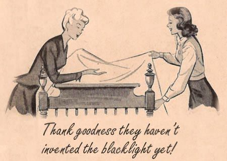 1950s cartoon of ladies making a bed