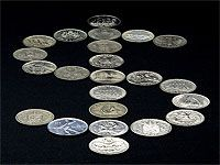 coin collection in form of dollar sign
