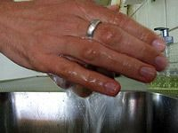 a pair of hands being washed