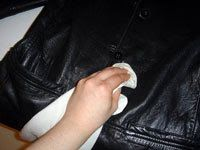 wiping down leather