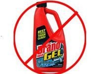 Drano Gel bottle with a red bar over it