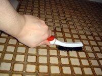 brushing the grout