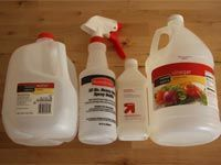 bottles and jugs of cleaning supplies