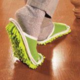 green microfiber slippers