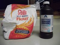 Bag Of Flour And Hydrogen Peroxide Cleaning Limestone Stains.