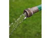 water coming from garden hose