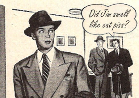 1950s cartoon of man in coat looking over shoulder at two men