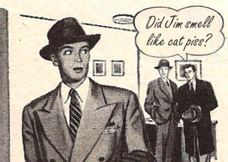 1950s cartoon of man in coat looking over shoulder at two men