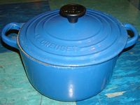 Blue enamel pot