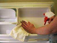 spraying the fridge door with vinegar