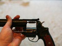 Wire brush through revolver