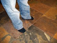 using socks to clean grout