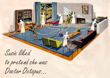 cartoon of a 1950s lady cleaning all parts of a house