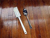 rubber scraper and metal spoon