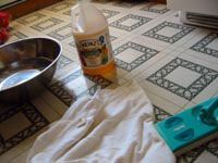 vinegar mixture on tile floor