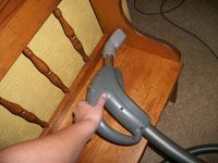 vacuuming furniture