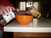 mixing olive oil and vinegar
