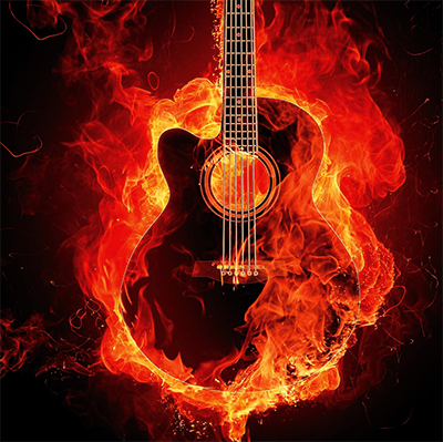 A guitar that is on fire that will need cleaning