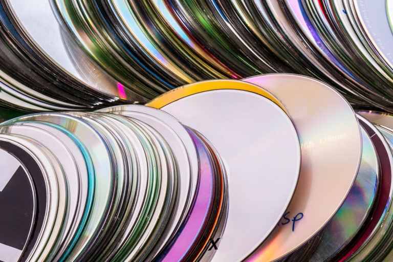 Stacks of cds.
