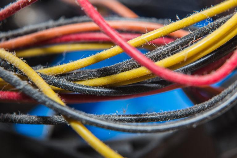 Dusty computer cords.