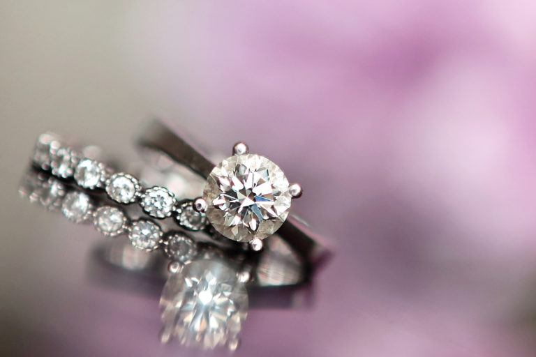 An engagement ring and wedding band.