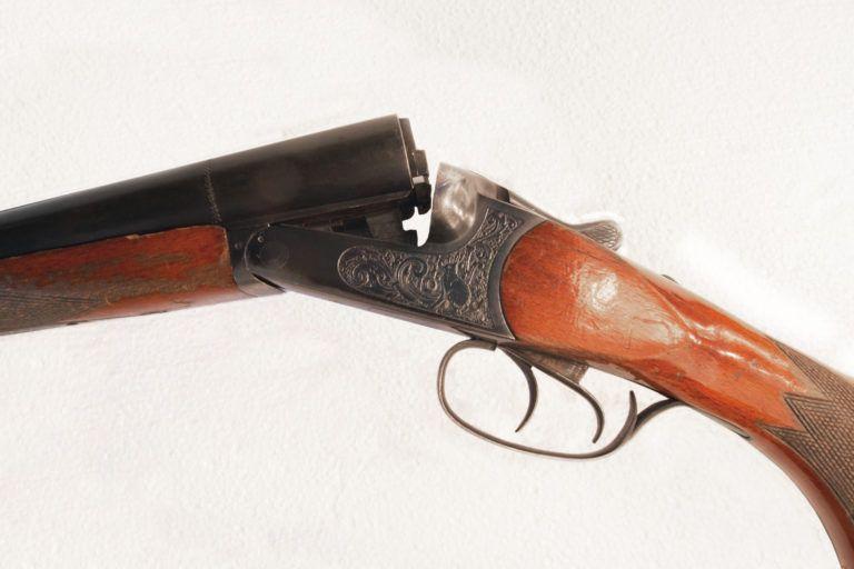 A double barrel shotgun.