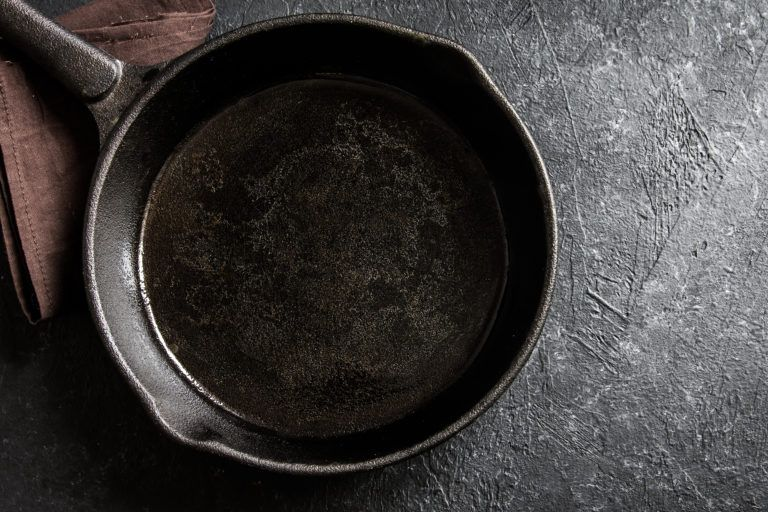 A cast iron skillet.