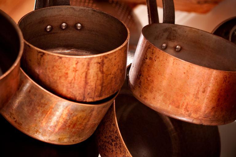 Copper pots hanging.