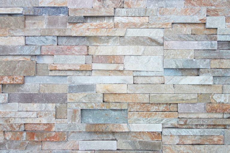 A limestone wall.