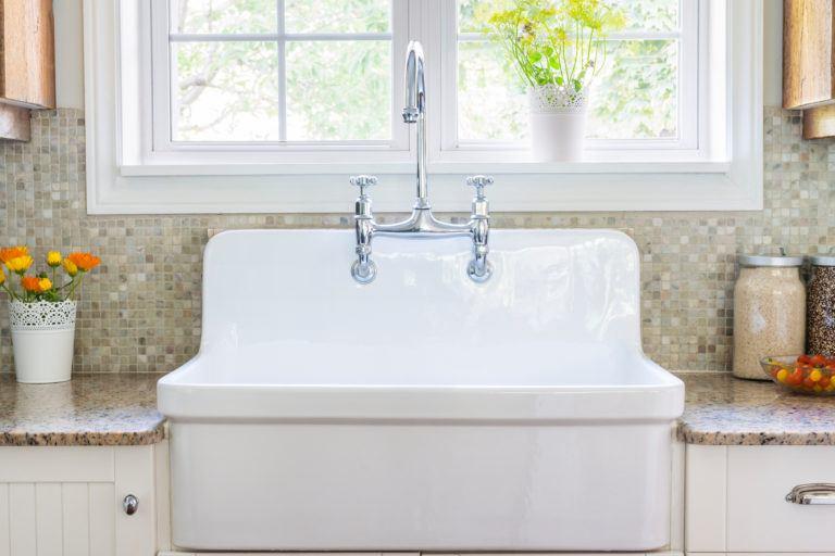 A porcelain kitchen sink.