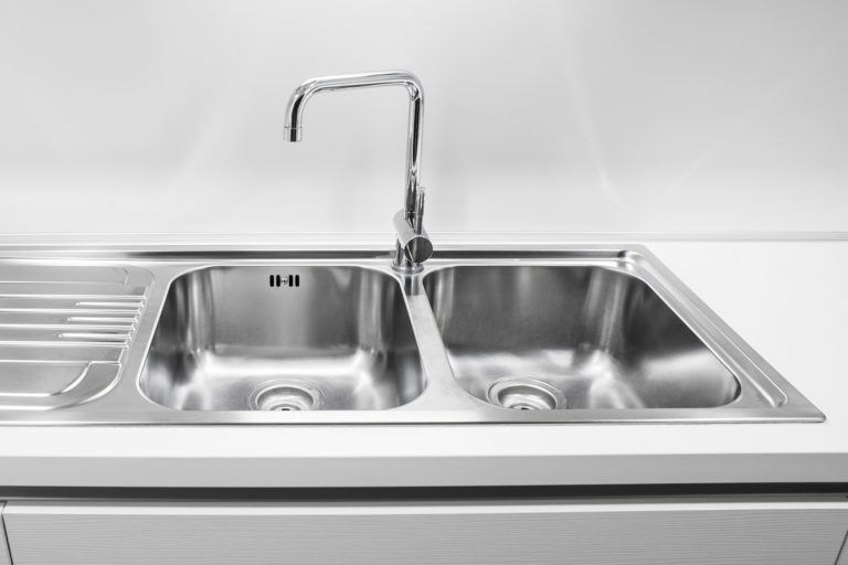 A Stainless Steel Double Basin Sink