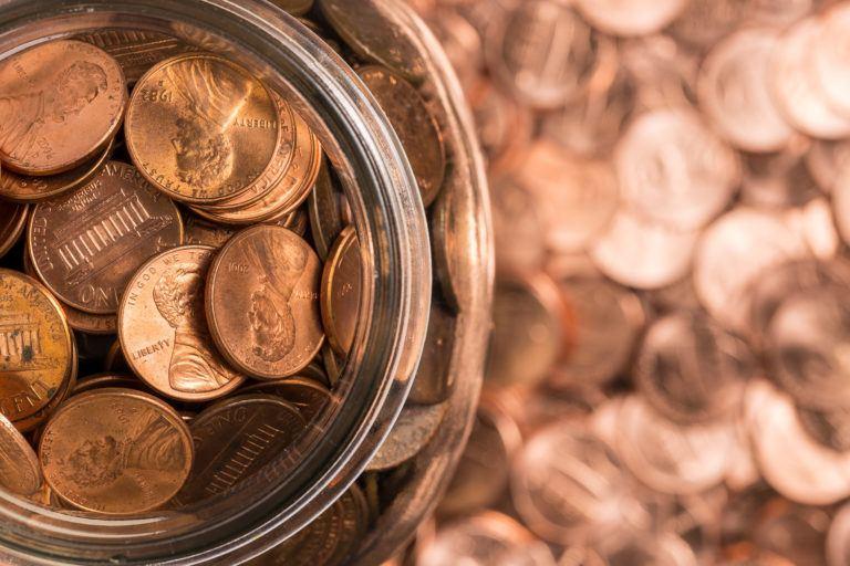 A jar of pennies.