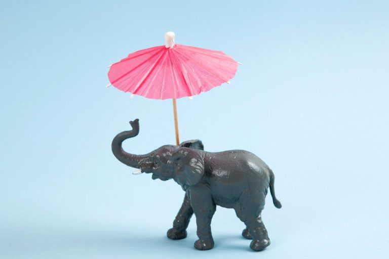 A plastic elephant toy with a pin umbrella.